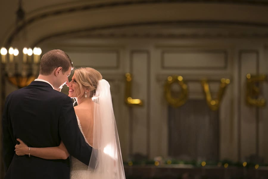 creative wedding picture at greystone hall akron