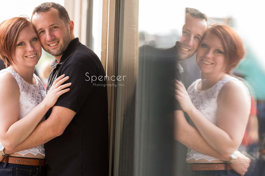 engagement picture with reflection in akron