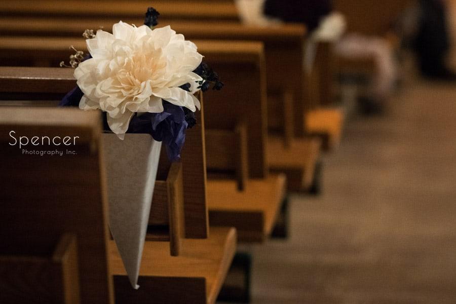 floral arrangement at akron wedding ceremony
