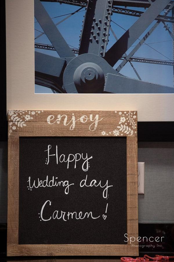 wedding day sign at Pittsburgh Hampton Inn