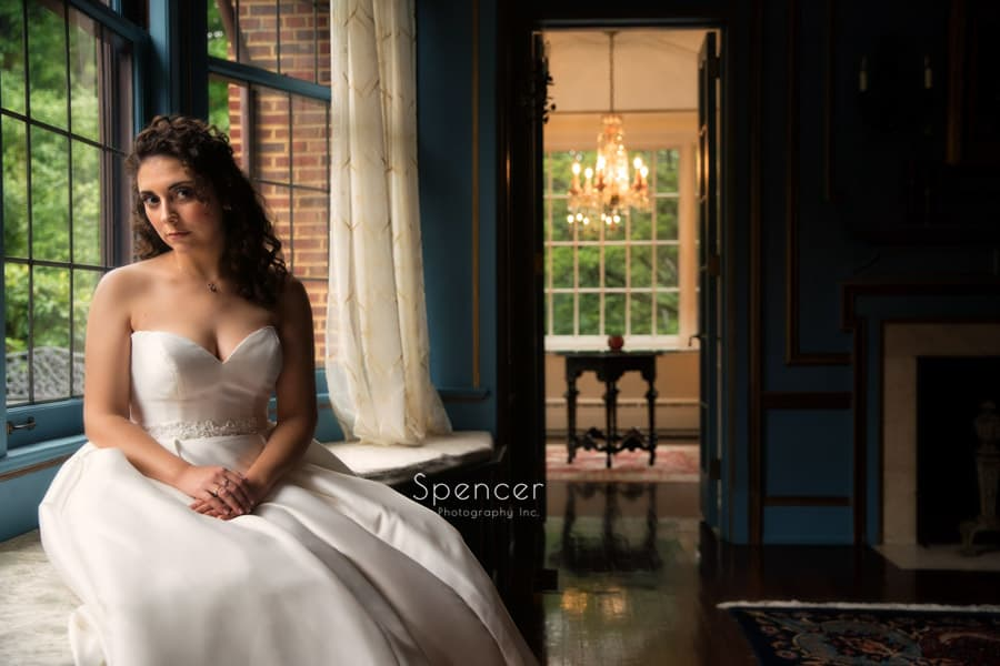bridal portrait on wedding day at oneal house akron