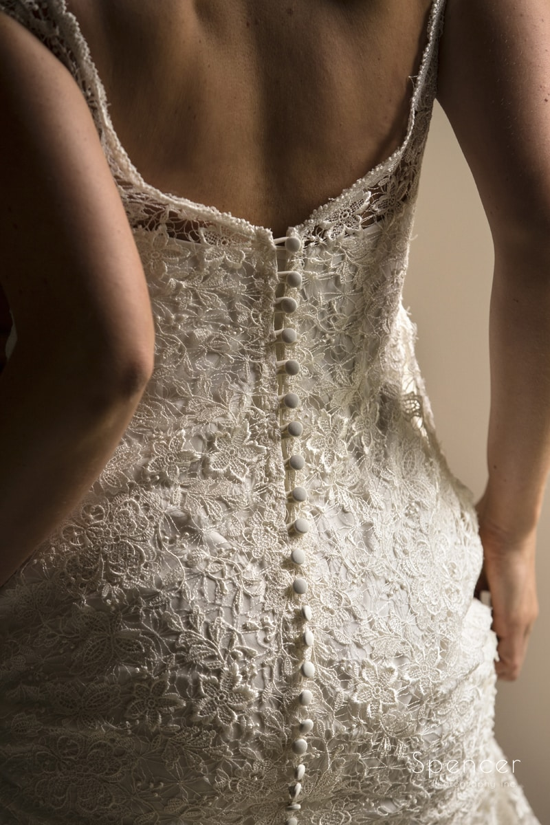 detail picture of wedding dress in cleveland