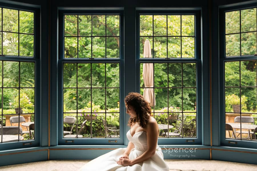 wedding picture of bride at O'Neil House Akron