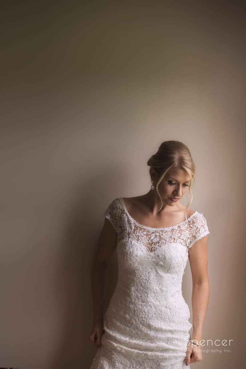 wedding day portrait of bride in cleveland