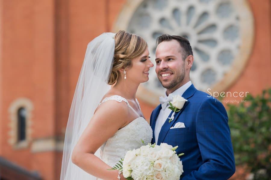 bride and groom at saint vincent basilica