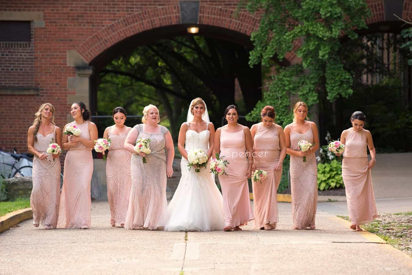 bridesmaids after wedding ceremony at St. Vincent
