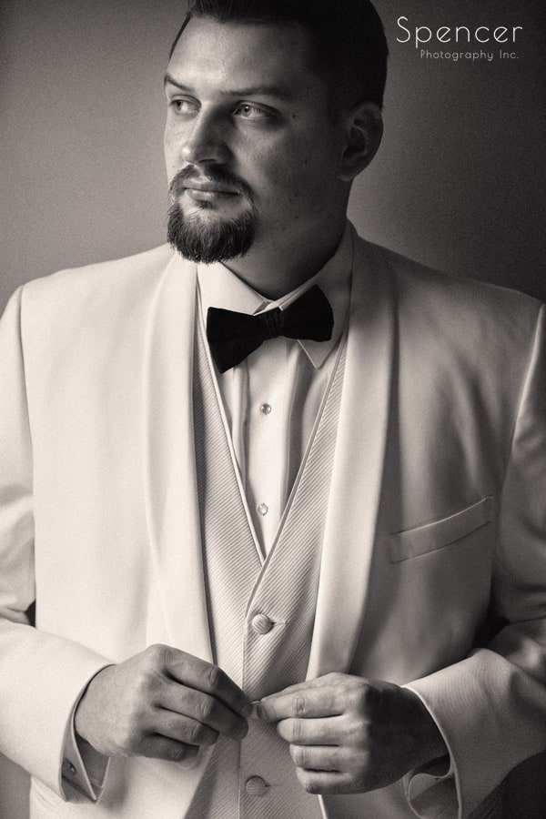 akron wedding day groom picture
