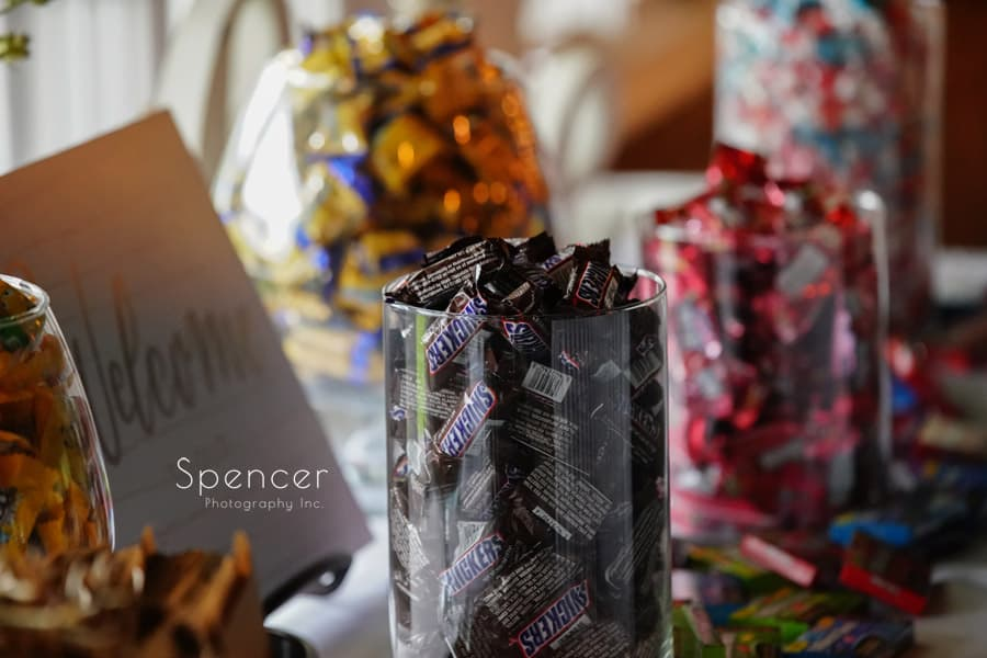 candy table at wedding reception in akron