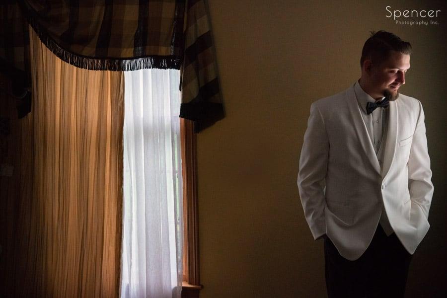 wedding portrait of groom in Akron