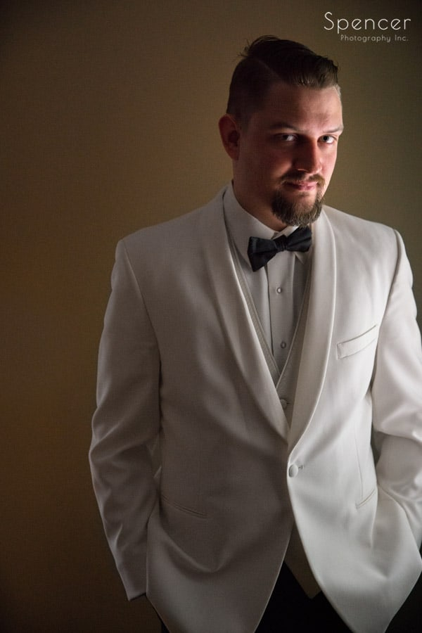 groom portait on wedding day in akron