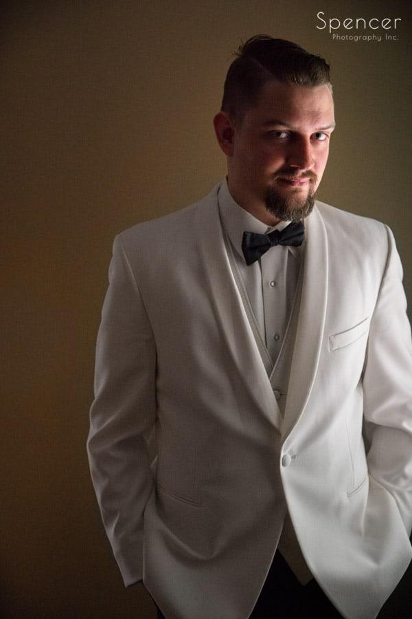 groom portait on wedding day in akron