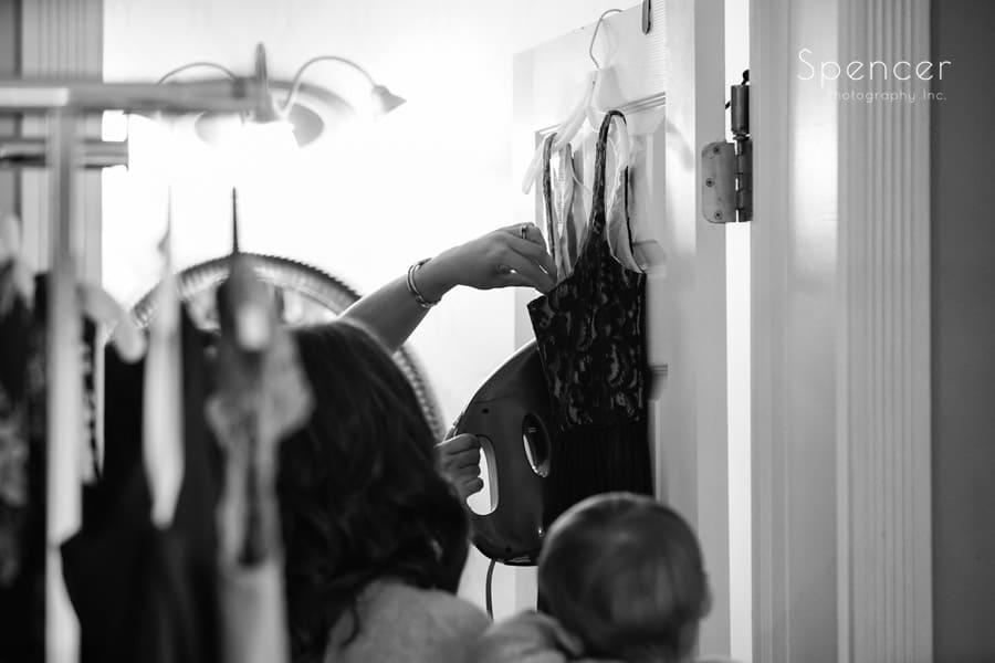 ironing dress at akron ohio wedding