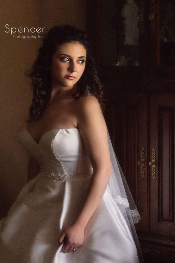 portrait of bride on wedding day in Akron