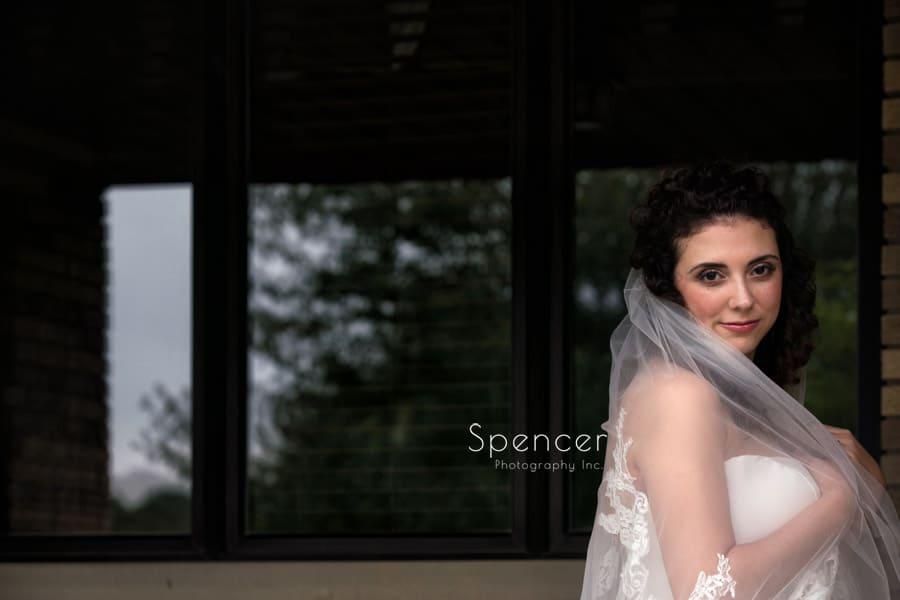 simple wedding portrait of bride on her akron wedding day