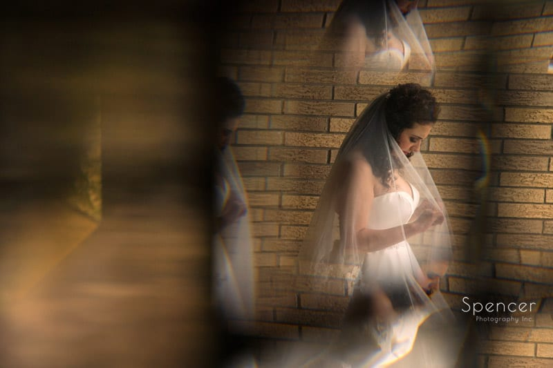abstract wedding picture of bride in akron
