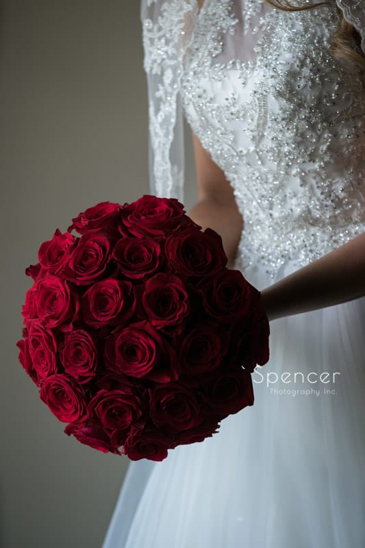 bride bouquet on wedding day at Portage Country Club in Akron