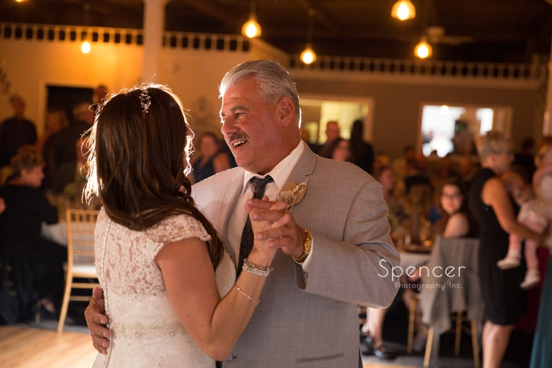 dad dancing with bride at akron wedding reception