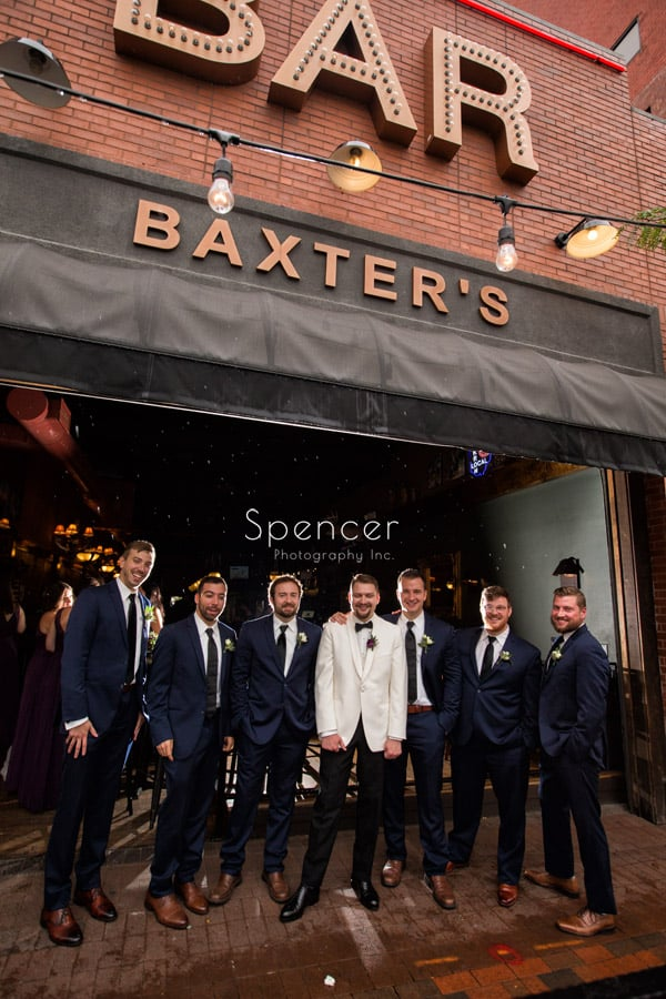 groomsmen on wedding day outside of Baxters Akron