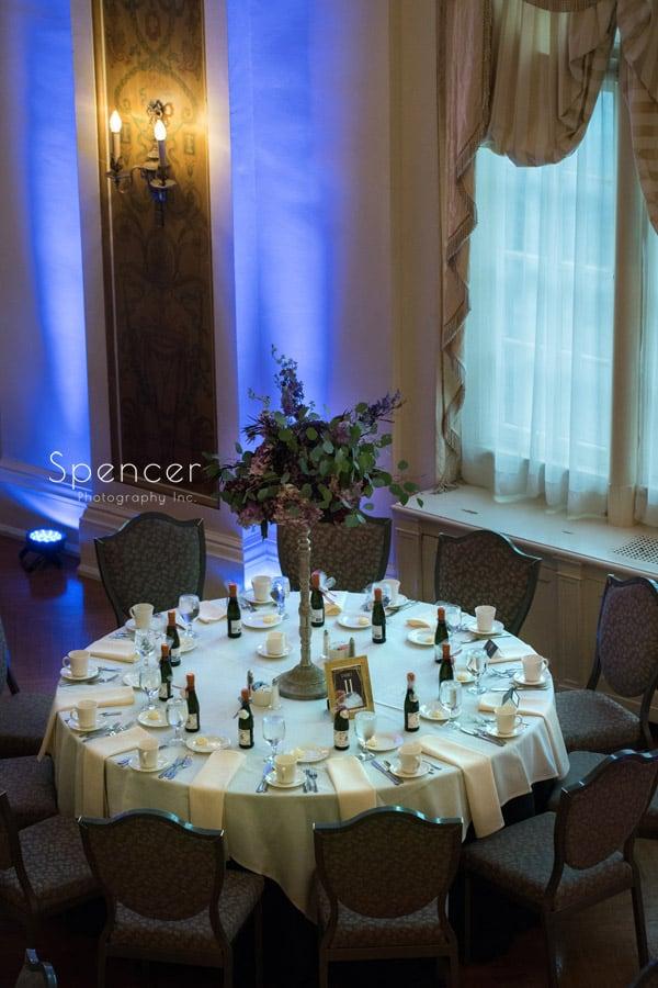 wedding reception centerpiece at Greystone Hall