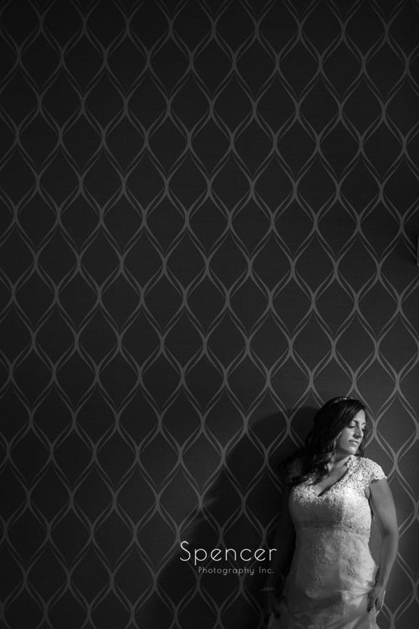 wedding day portrait of bride at Occasions Party Center