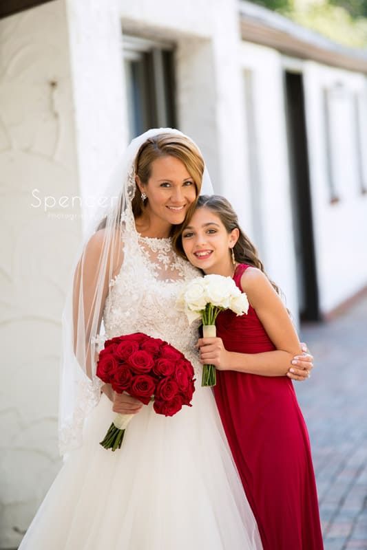 bride with daughter on wedding day at Portage Country Club