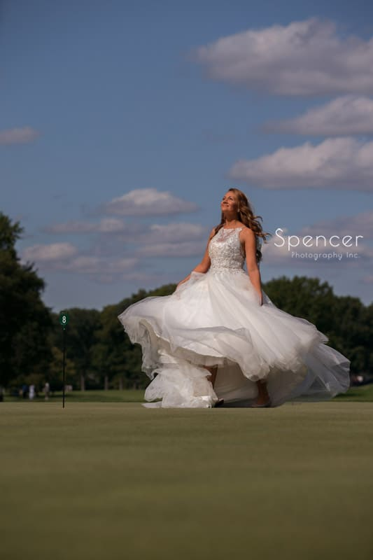 bride on golf course at Portage Country Club