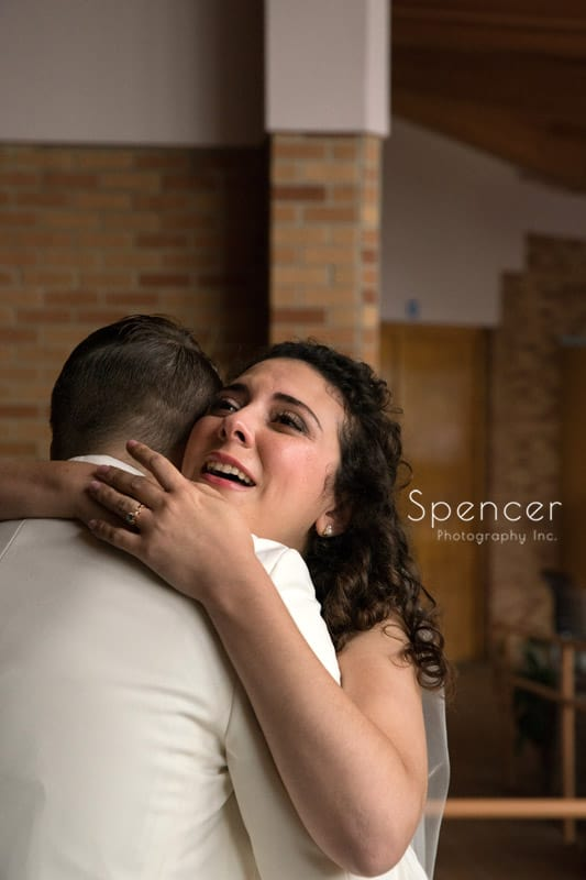 emotional bride before wedding cermony in Akron Ohio