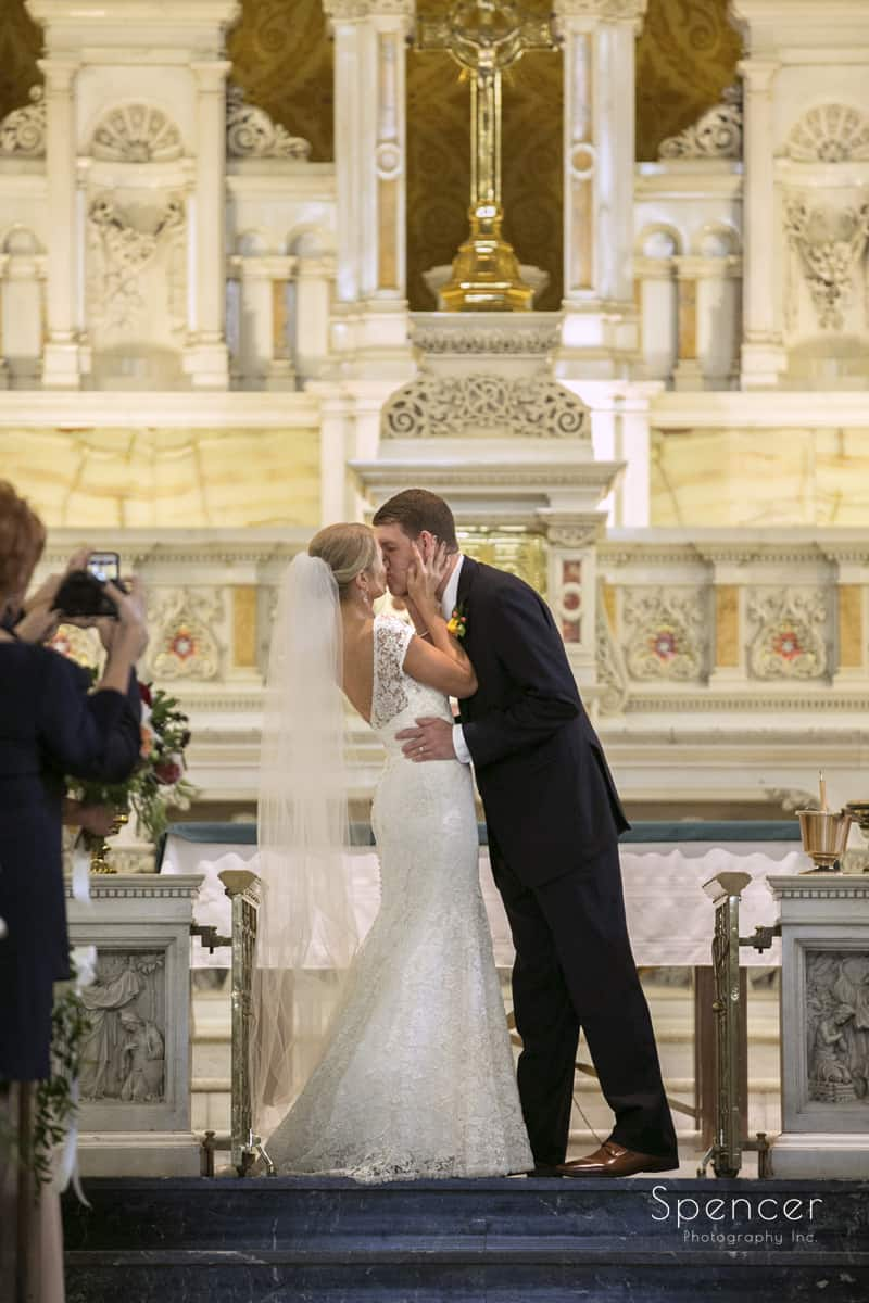 first kiss at wedding ceremony at st colman