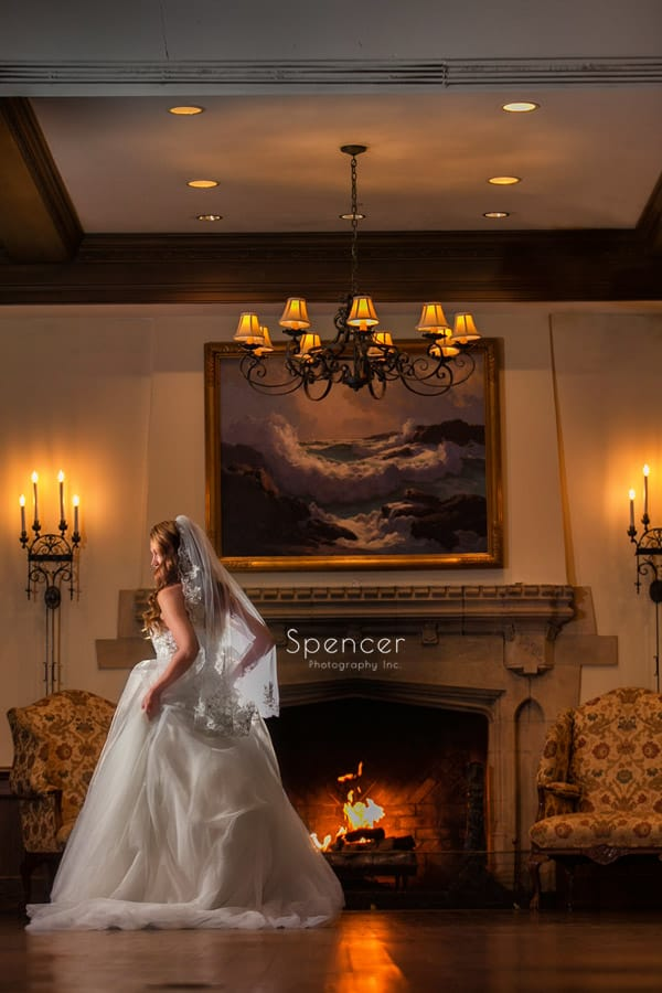 wedding day portrait of bride at Portage Country Club