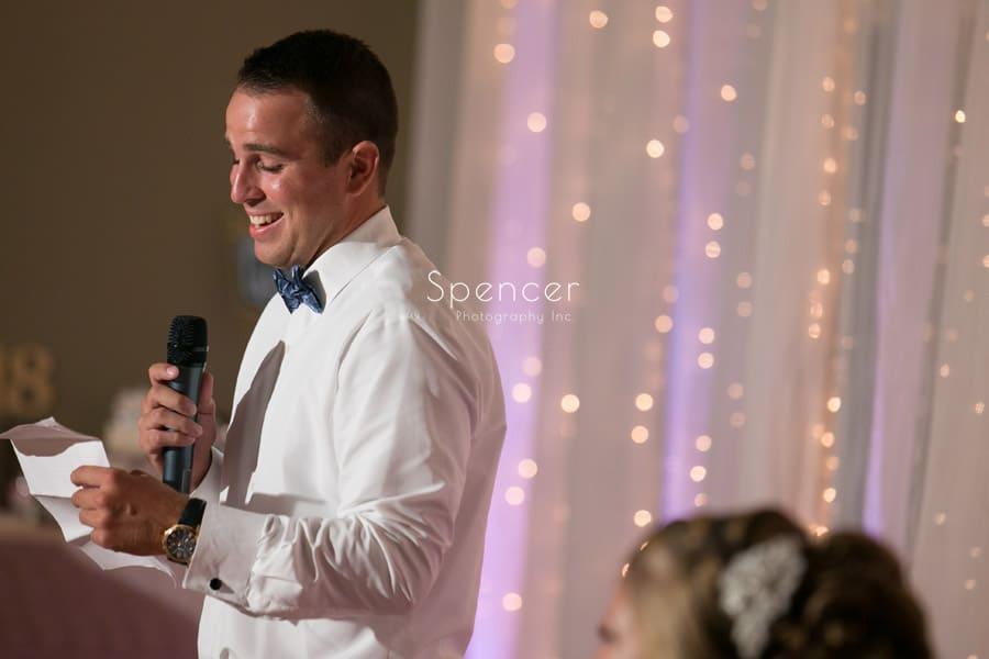 best man speech at Antonelli Event Center wedding reception