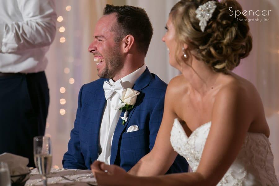 groom reacts to best man speech at Antonelli Event center wedding reception
