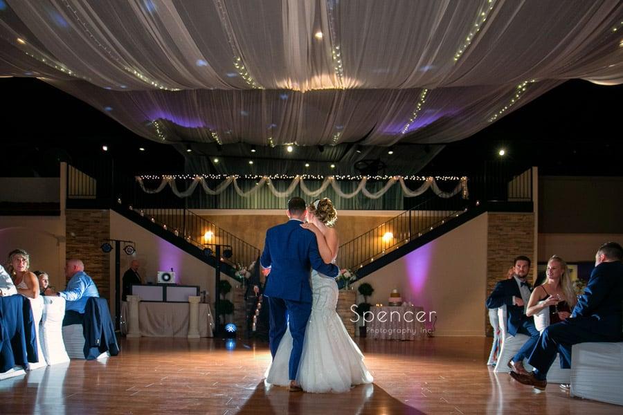 bride and groom dance at wedding receptionat Antonelli Event Center