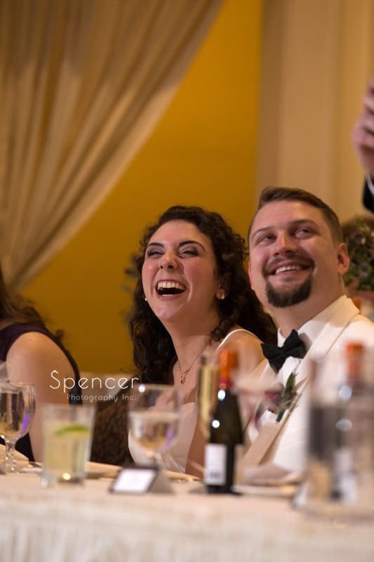 bride reacts to best man speech at Greystone Hall reception