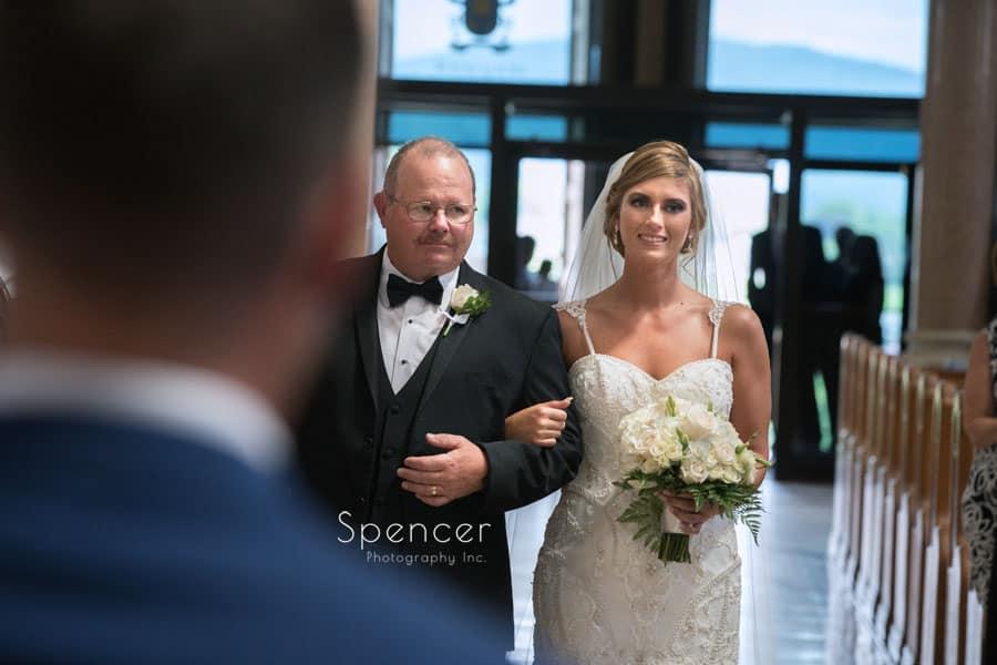 bride meeting groom at wedding ceremonyat St. Vincent Basilica