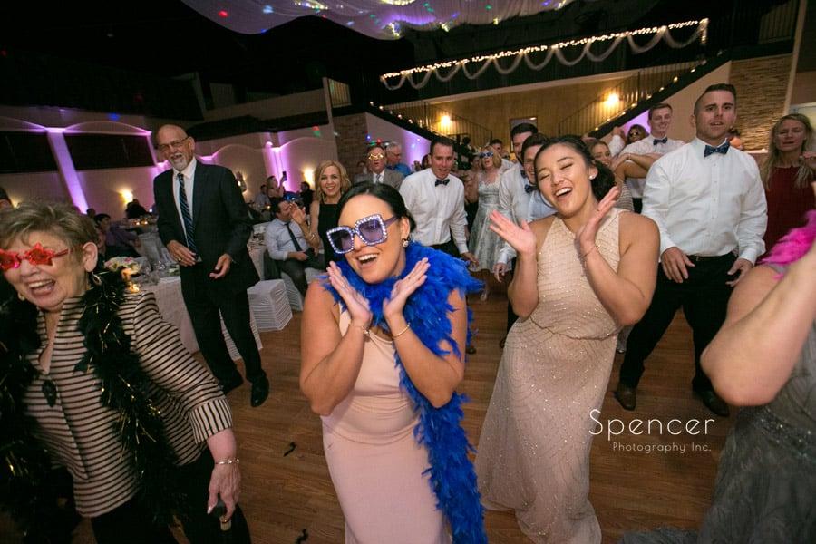 bridesmaids dancing at wedding reception at Antonelli Event Center