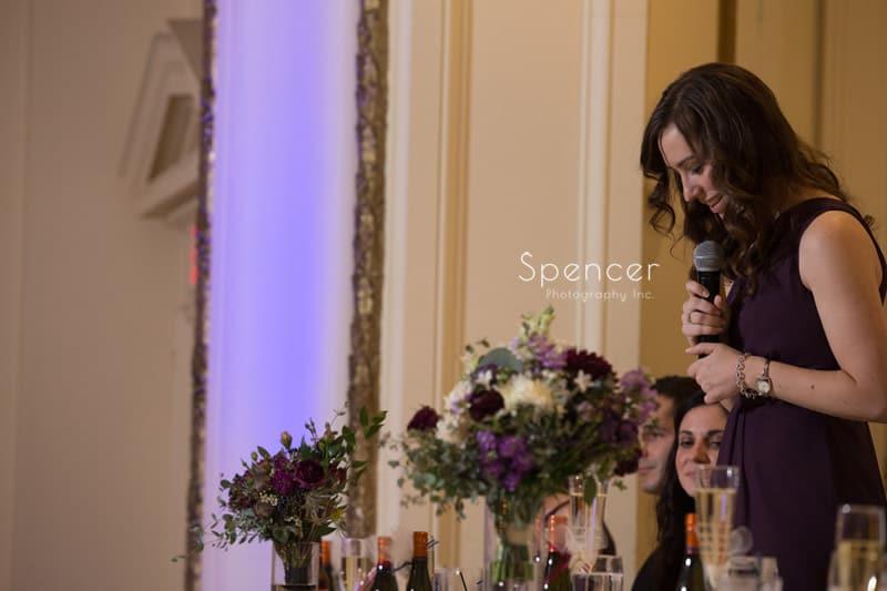 maid of honor speech at Greystone Hall wedding reception