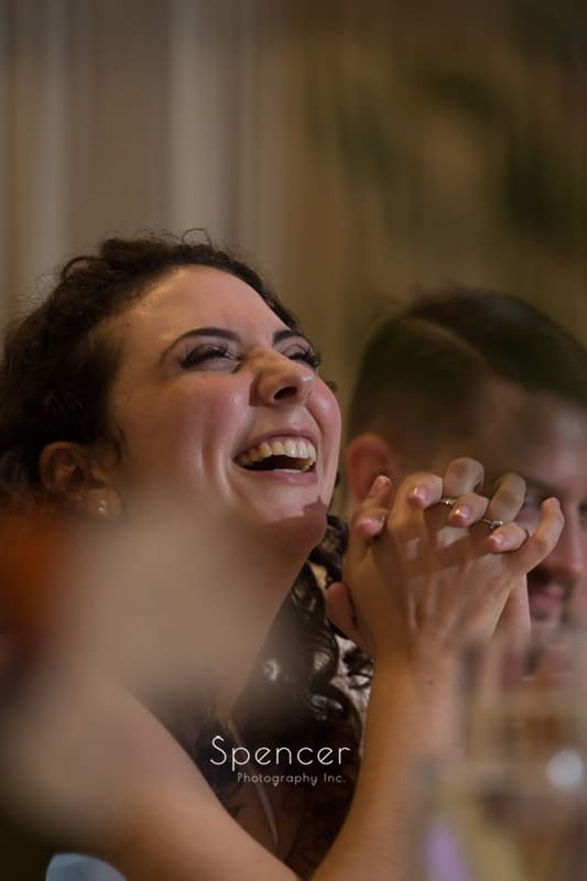 bride reacts to maid of honor speech at Greystone Hall reception