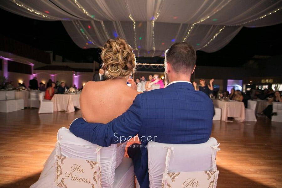 bride and groom enjoying their wedding receptionat Antonelli Event Center