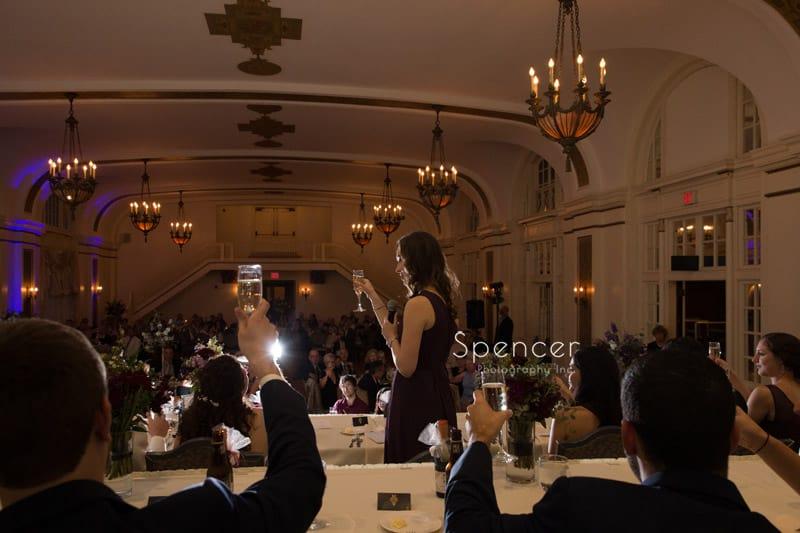 wedding toast at Greystone Hall wedding reception