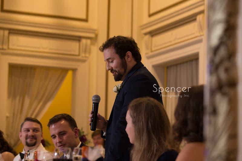best man speech at Greystone Hall reception