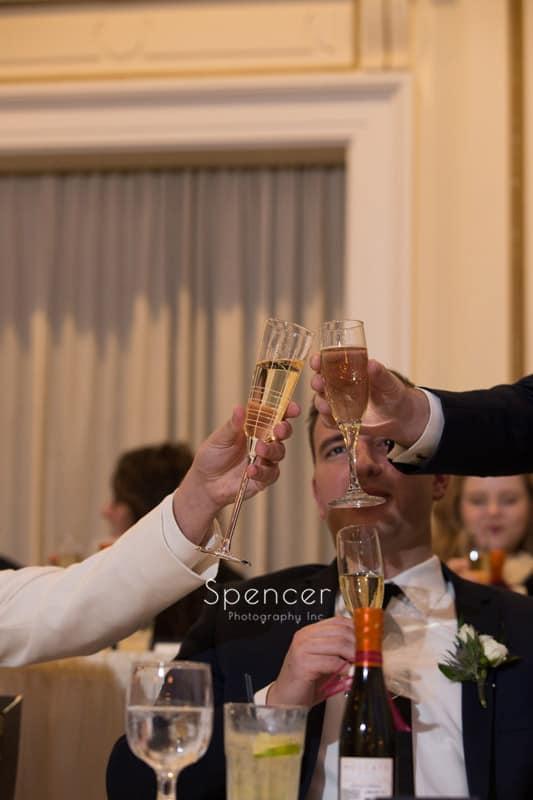 best man toasts groom at wedding reception Greystone Hall Akron