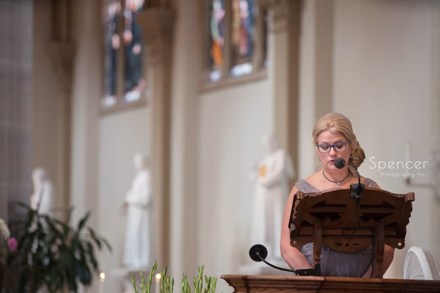 mother of bride giving speech at St. Vincent Basilica wedding ceremony