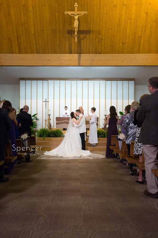 first kiss at akron wedding ceremony