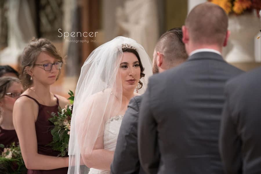bride looking at groom during Canton wedding