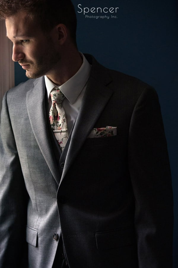 groom portrait on his wedding day in ohio