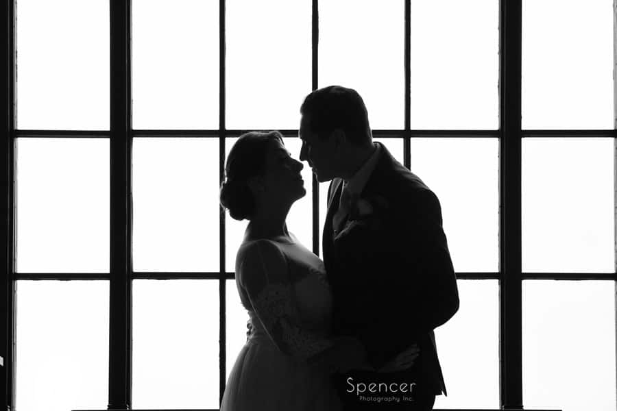 wedding day picture of groom and bride at ariel pearl cleveland