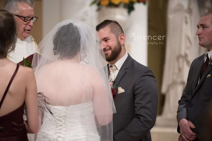 groom looking at bride during Canton Ohio wedding