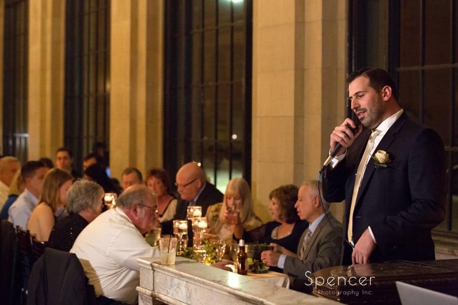 best man speech at wedding reception at ariel pearl cleveland