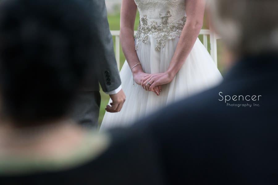 brides hand during wedding ceremony