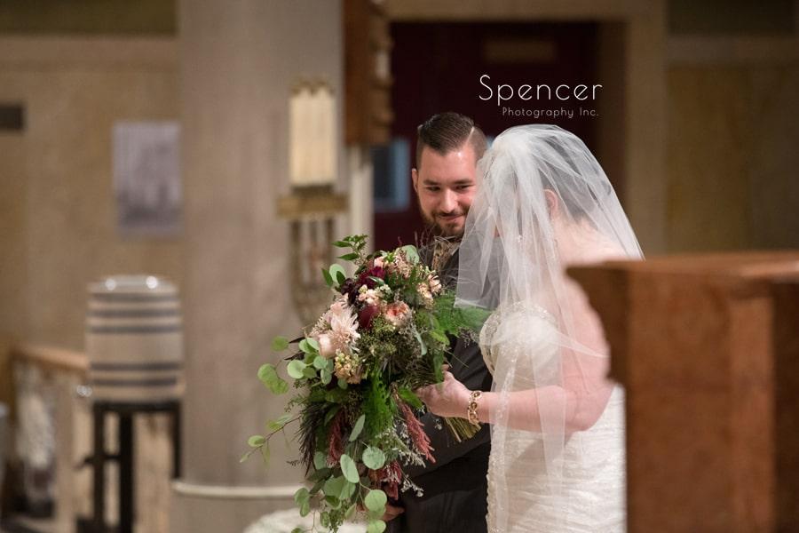 groom looking at bride during Canton wedding
